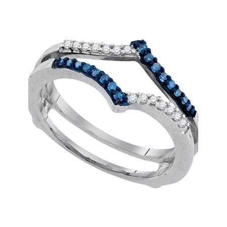 Gift Wrapped Heart Chastity Ring - 10kt White Gold Womens Round Blue Color Enhanced Diamond Ring Guard Wrap Enhancer Band 1/5 Cttw Diamond Fine Jewelry Ideal Gifts For Womens Gift Set From Heart