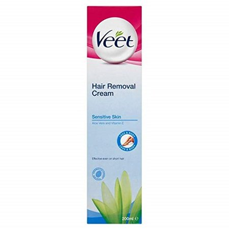 Veet Hair Removal Cream Sensitive Skin with Aloe Vera & Vitamin E (200ml) - Pack of (Best Hair Removal Cream For Sensitive Skin)