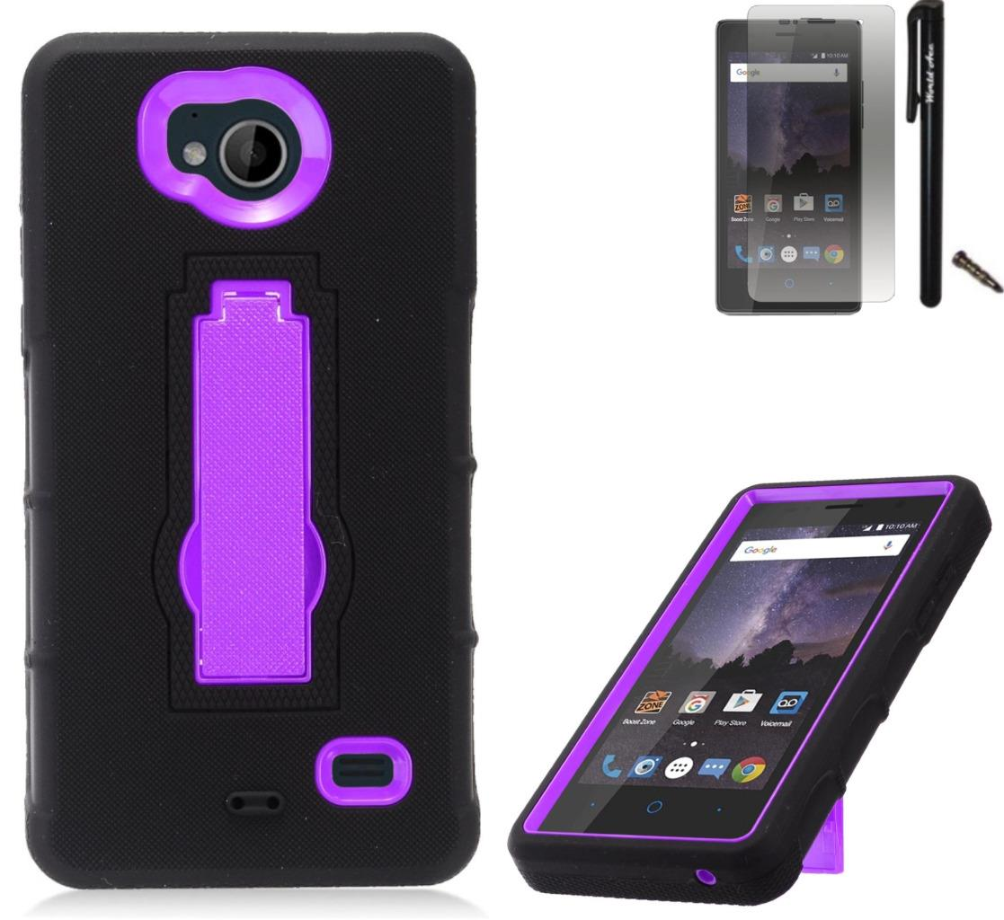 For ZTE Tempo N9131 Case / ZTE Majesty Pro LTE Case Symbiosis Armor Hybrid Silicone Phone Cover Hard Plastic w/ Stand Combo Pack (Purple/Black)
