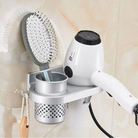 1pc Aluminum Wall Mount Bathroom Washroom Hair Dryer Holder Er Storage Organizer With A Cup