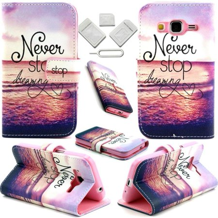 Galaxy Core Prime G360 Case Goodokay  Never Stop Dreaming  Colorful Pattern Design Pu Leather Flip Stand Wallet Case  Built In Credit Card Slots  Protective Skin For Samsung Galaxy Core Prime G360