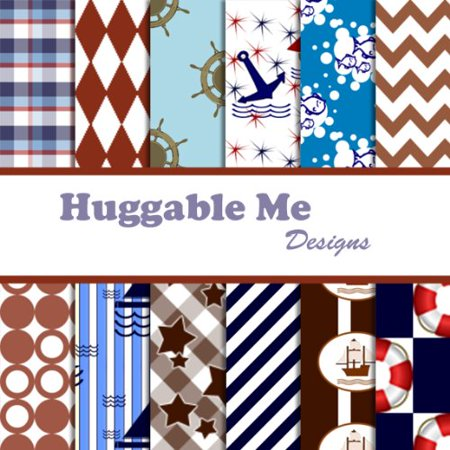 - Nautical Theme Scrapbook Paper - Printable Files on CD, 12 Designs of digital scrapbook paper on CD By Huggable Me Designs