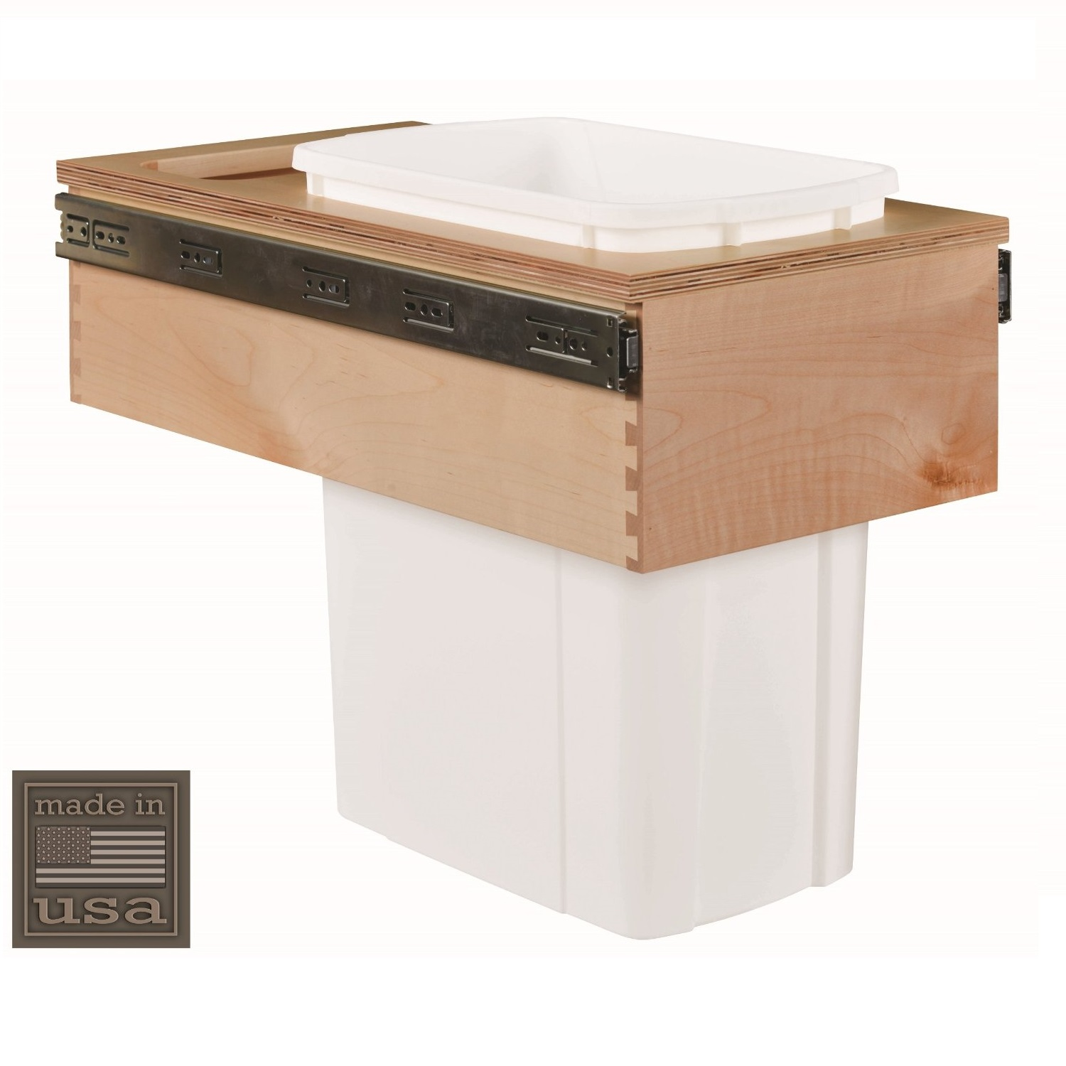 """Century Components CASTM11PF Kitchen Pull Out Waste Bin Container - 34 Qt White Single - Baltic Birch - Top Mount, 12"""""""