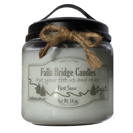 - First Snow Scented Jar Candle, Medium 16-Ounce Soy Blend, Falls Bridge Candles