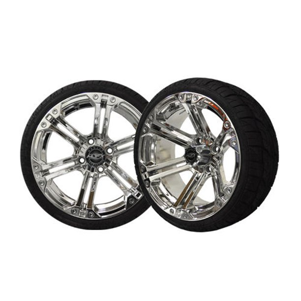 "Golf Cart Wheels and Tires Combo - 14"" Nitro Chrome - Set ..."