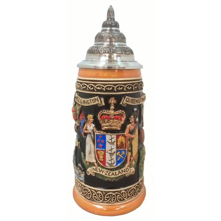 New Zealand Coat of Arms and Landmarks LE German Beer Stein .5 (New Zealand Coat Of Arms)
