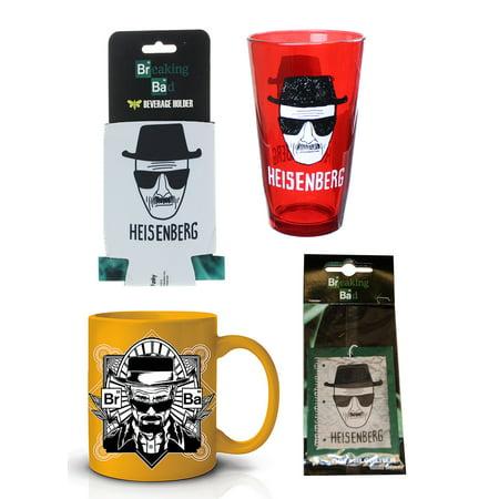 Breaking Glass - Breaking Bad Heisenberg Bundle: Mug, Air Freshener, Pint Glass, Koozie