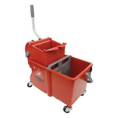 Unger Side-Press Restroom Mop Dual Bucket Combo, 4 gal, Plastic, Red (UNGCOMSR) (Restroom Mop)