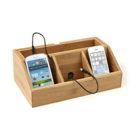 Mind Reader 3 Component Bamboo Charging Station and Desk Organizer, (Charging Station And Desk Organizer For Handheld Electronics)