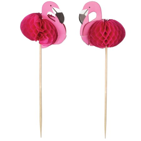 Club Pack of 288 Tropical Honeycomb Pink Flamingo Finger Food Decorative Party Picks 8