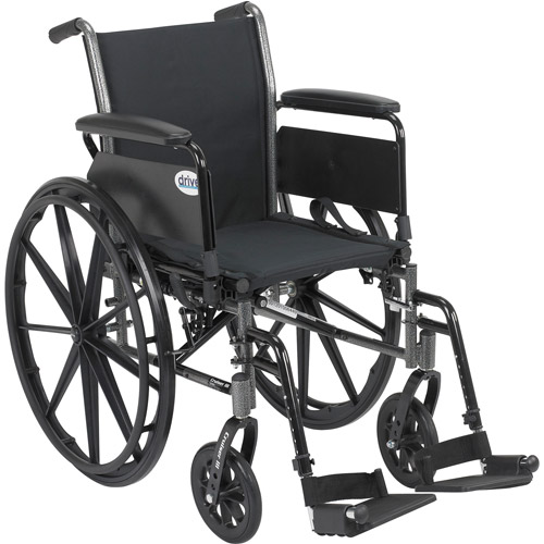 Drive Medical Cruiser III Light Weight Wheelchair with Flip Back Removable Full Arms and Swing Away Footrest