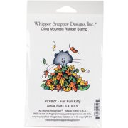 "Whipper Snapper Cling Stamp 4""X6""-Fall Fun Kitty"