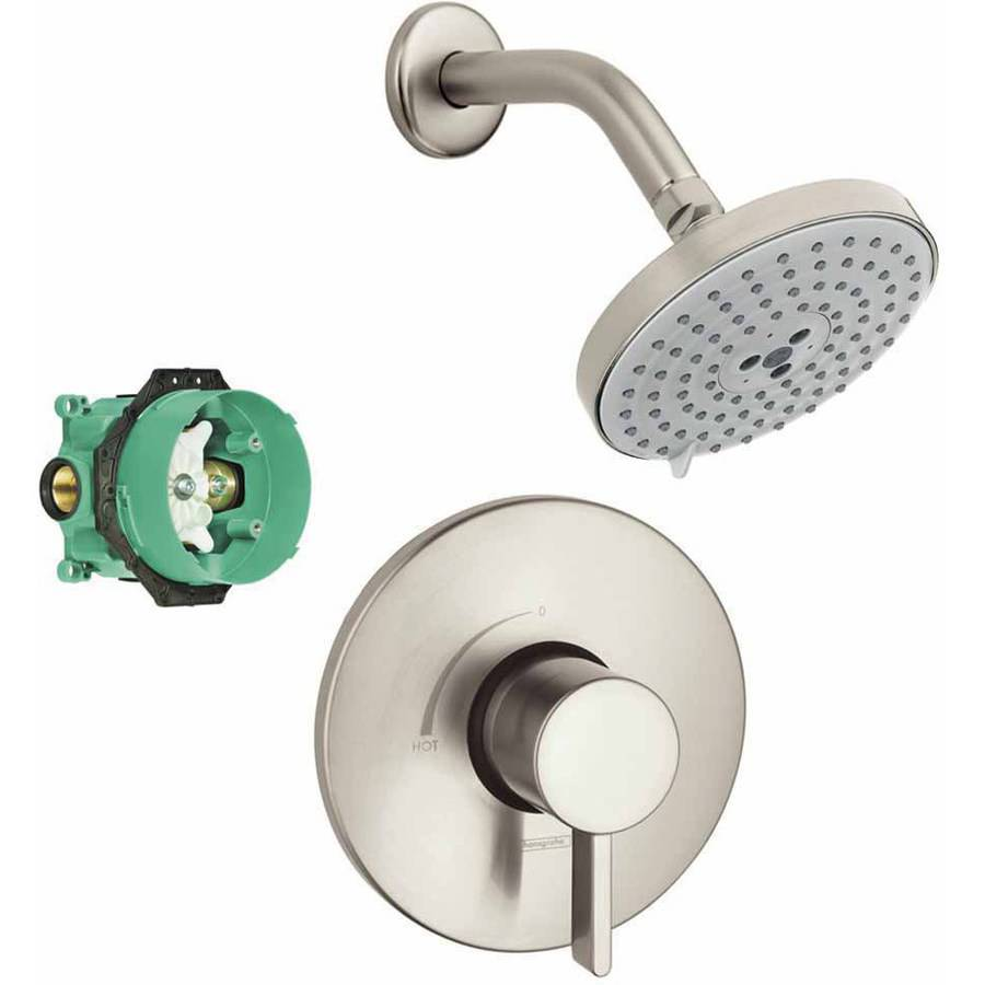 Hansgrohe KS04233-27495PC Raindance S 150 Air 3-Jet Showerhead Kit with PBV Trim and Rough-In, Various Colors