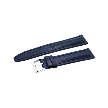 Rev #ITAL120 Black 20mm Alligator-Embossed Genuine Leather Watch Band