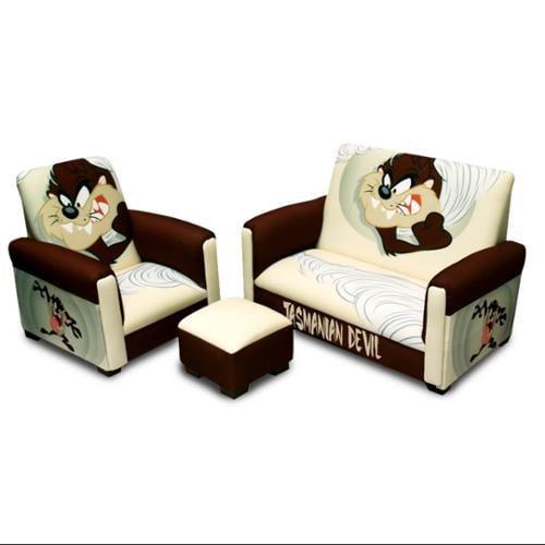 "Warner Brothers - ""TAZ"" Tasmanian Devil Toddler Sofa, Chair and Ottoman Set"