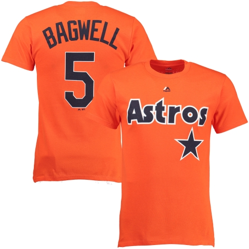 Jeff Bagwell Houston Astros Majestic Cooperstown Player Name & Number T-Shirt - Orange