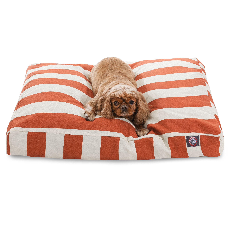 Majestic Pet Vertical Stripe Rectangle Dog Bed - Burnt Orange - Medium - M