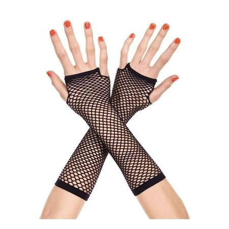 Music Legs 415-BLACK Thick Mini Diamond Net Arm Warmers Gloves - Black