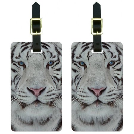 White Bengal Tiger with Blue Eyes Luggage Tags Suitcase Carry-On ID, Set of 2