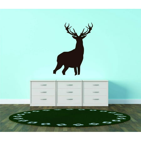 Custom Wall Decal Silhouette Deer Buck Antler Wildlife Forest Animal Vinyl Wall Graphic Sticker Home Bedroom 15X20