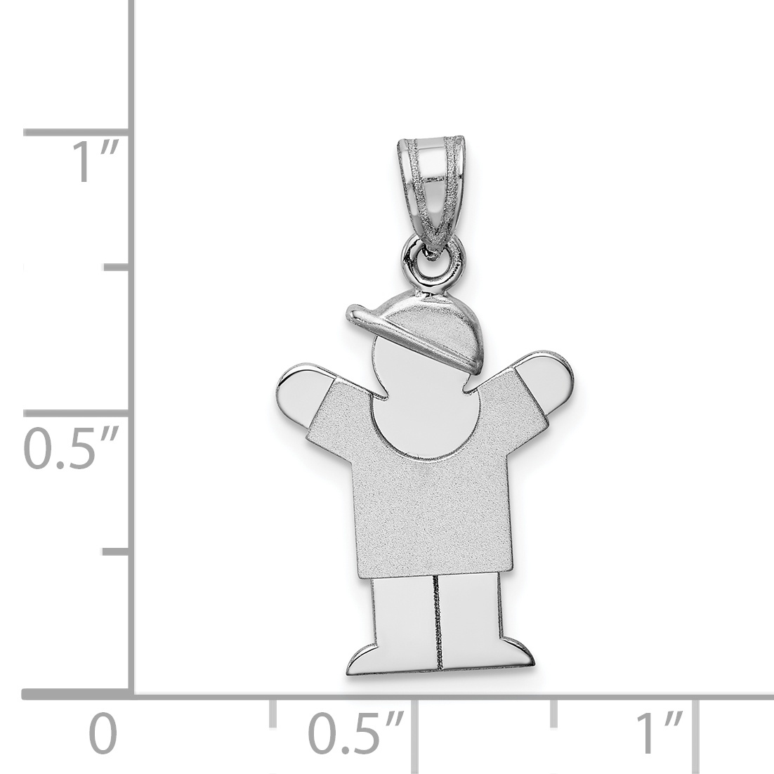 14K White Gold Small Boy w/Hat on Right Engravable Charm - image 1 de 2