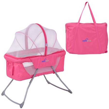 Costway Lightweight Foldable Baby Bassinet Rocking Bed Mosquito Net Carrying Bag - Care Rocking Bassinet