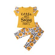 Canis 2PCS Toddler Baby Girls Outfits Pants+Tops T-shirt Set Summer Clothes Set