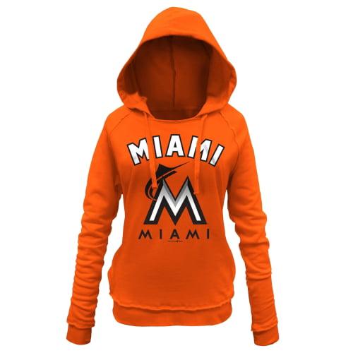 Miami Marlins 5th & Ocean by New Era Women's Hot Corner Pullover Hoodie - Orange