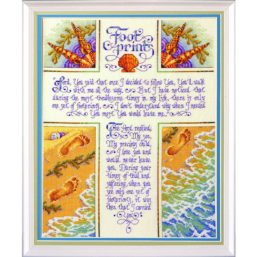 "Bucilla   Counted Cross Stitch Picture Kit by Plaid, Footprints, 10½"" x 14¼"""