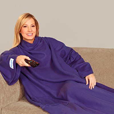 Snuggie Soft Fleece Blanket with Sleeves and Pockets, Purple ()