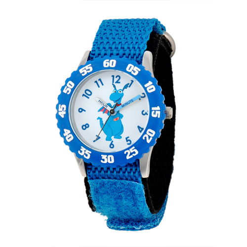Disney Stuffy Girls' Stainless Steel Case with Bezel Watch, Blue Nylon Strap