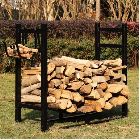 VIVOHOME 3ft Heavy Duty Indoor Outdoor Firewood Storage Log Rack with Kindling -
