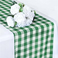 Buffalo Plaid Table Runner Green / White Gingham Polyester Checkered Table Runner 2PC