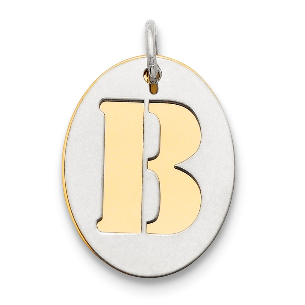 Sterling Silver Engravable GP Initial B Double Plate Oval Charm (0.7in long x 0.6in wide)