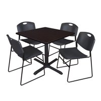 """Regency 5-Piece 36"""" Square Lunchroom Table with Metal """"X"""" Base and 4 Zeng Chairs"""