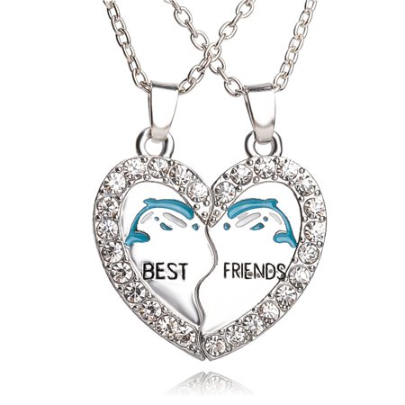 BEST FRIEND Dolphins Heart Silver Tone 2 Pendants Necklace BFF Friendship