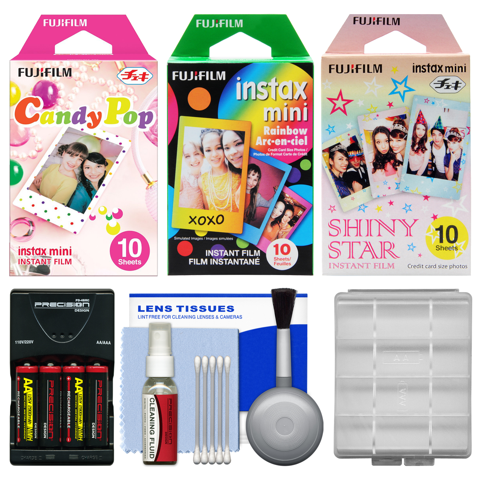 Essentials Bundle For Fujifilm Instax Mini 8 Instant Film Camera With 30 Candy Rainbow Shiny Star Prints Battery Charger Cleaning Kit