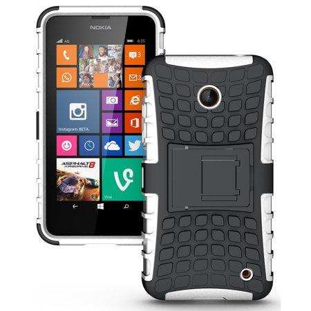 NEW NAKEDCELLPHONE WHITE GRENADE GRIP RUGGED TPU SKIN HARD CASE COVER STAND FOR NOKIA LUMIA 630 635 PHONE (AT&T, T-MOBILE, METRO-PCS, UNLOCKED) ()