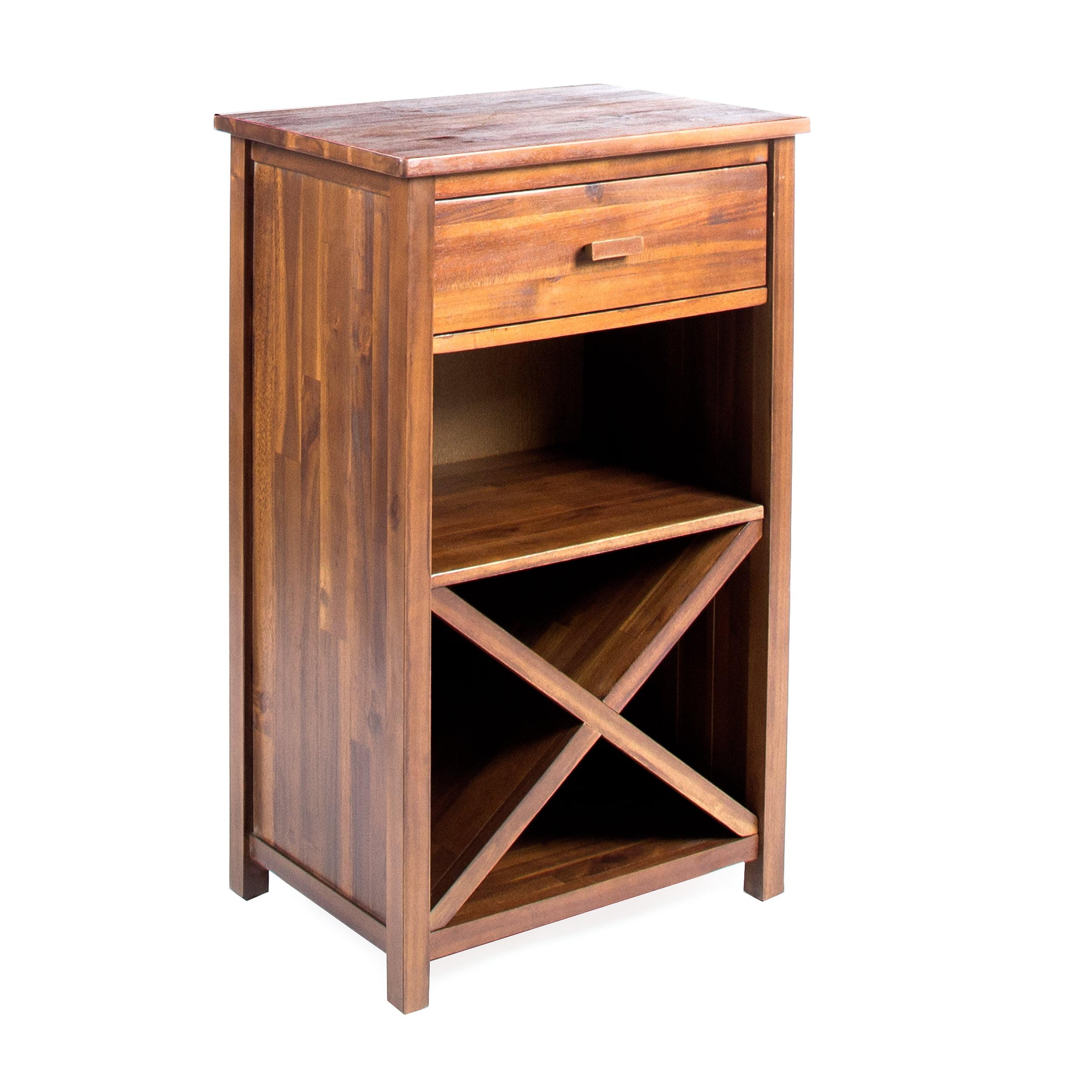 Clover Farmhouse Acacia Wood Bar Cabinet, Dark Oak