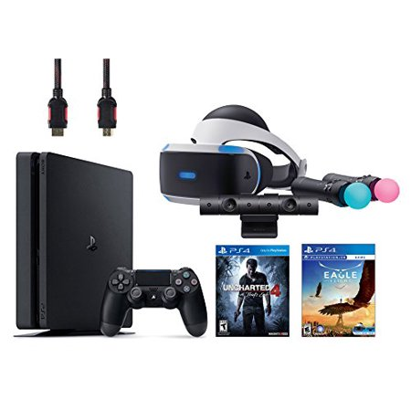 PlayStation VR Start Bundle 5 Items:VR Headset,Move Controller,PlayStation Camera Motion Sensor,PlayStation 4 Slim 500GB Console - Uncharted 4,VR Game Disc Eagle Flight