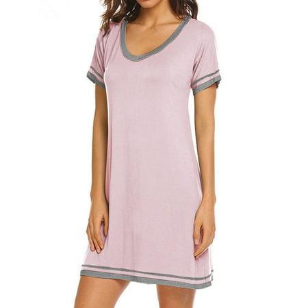 HUBERY Women Striped Printed Colorblock V Neck Short Sleeves Mini Dress