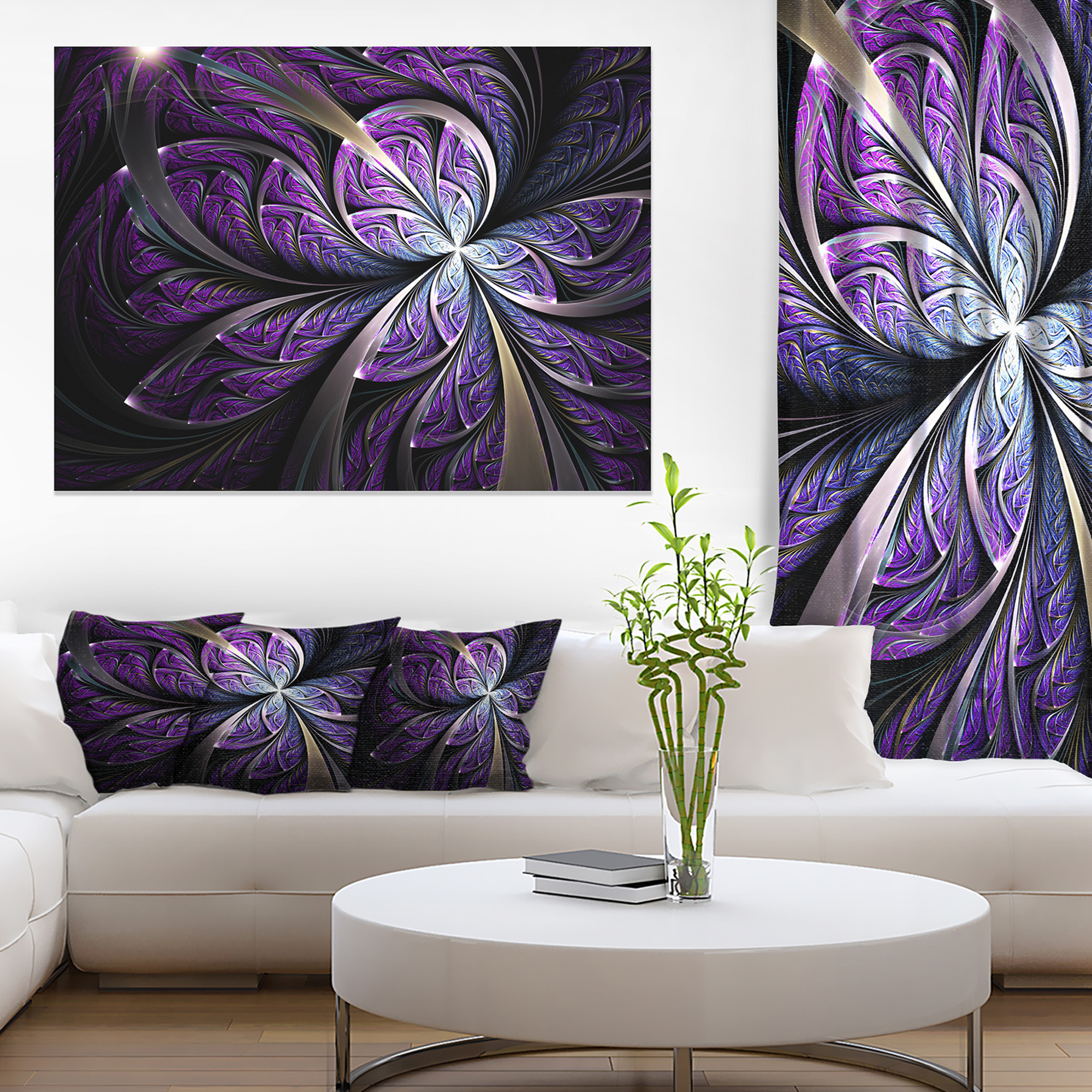 Glittering Purple Fractal Flower Floral Canvas Art Print Walmart Canada