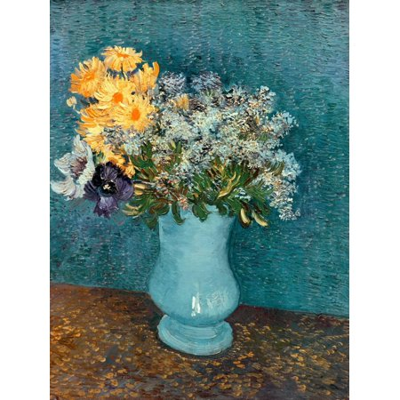 Vase of Lilacs, Daisies and Anemones, c.1887 Flowers Still Life Print Wall Art By Vincent van (Vincent Van Gogh Vase)