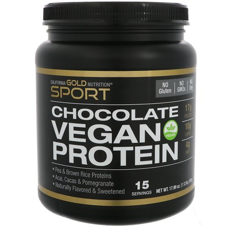 - California Gold Nutrition  Vegan Protein with Pomegranate  Acai   a Hint of Chocolate  No Soy  17 99 oz  510 g