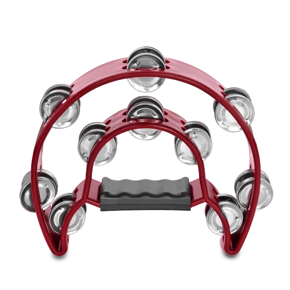 Half Moon Musical Tambourine (Red) Double Row Metal Jingles Hand Held Percussion Drum for Gift KTV Party Kids Toy with Ergonomic Handle Grip