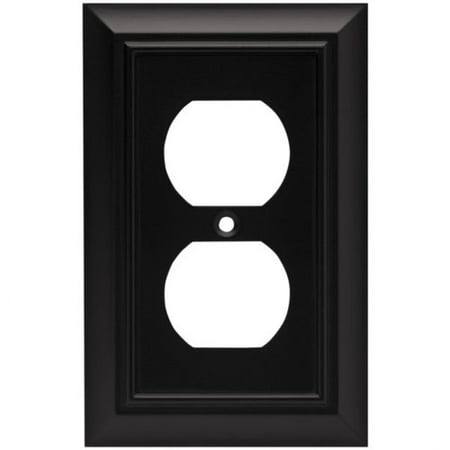- Franklin Brass Architectural Single Duplex Wall Plate in Flat Black
