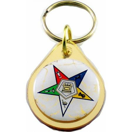 Teardrop Billet Mirror (Eastern Star Small Tear Drop Domed Mirror Keychain [Gold -)