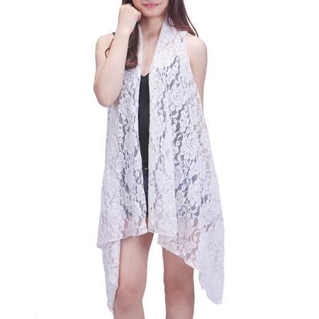 Womens Clothing : Sweaters Cream (HDE Womens Open Front Lace Cardigan Sleeveless Asymmetric Drape Hem Vest Coverup (White, XL-2X) )