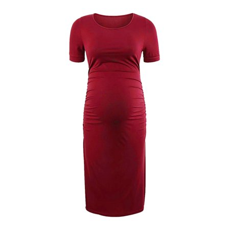 Stretch Maternity Dress (Women Pregnancy Maternity Stretch Bodycon Casual Tunic Shirt)