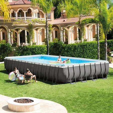 Intex 32 X 16 X 52  Rectangular Ultra Frame Above Ground Pool With Sand Filter Pump